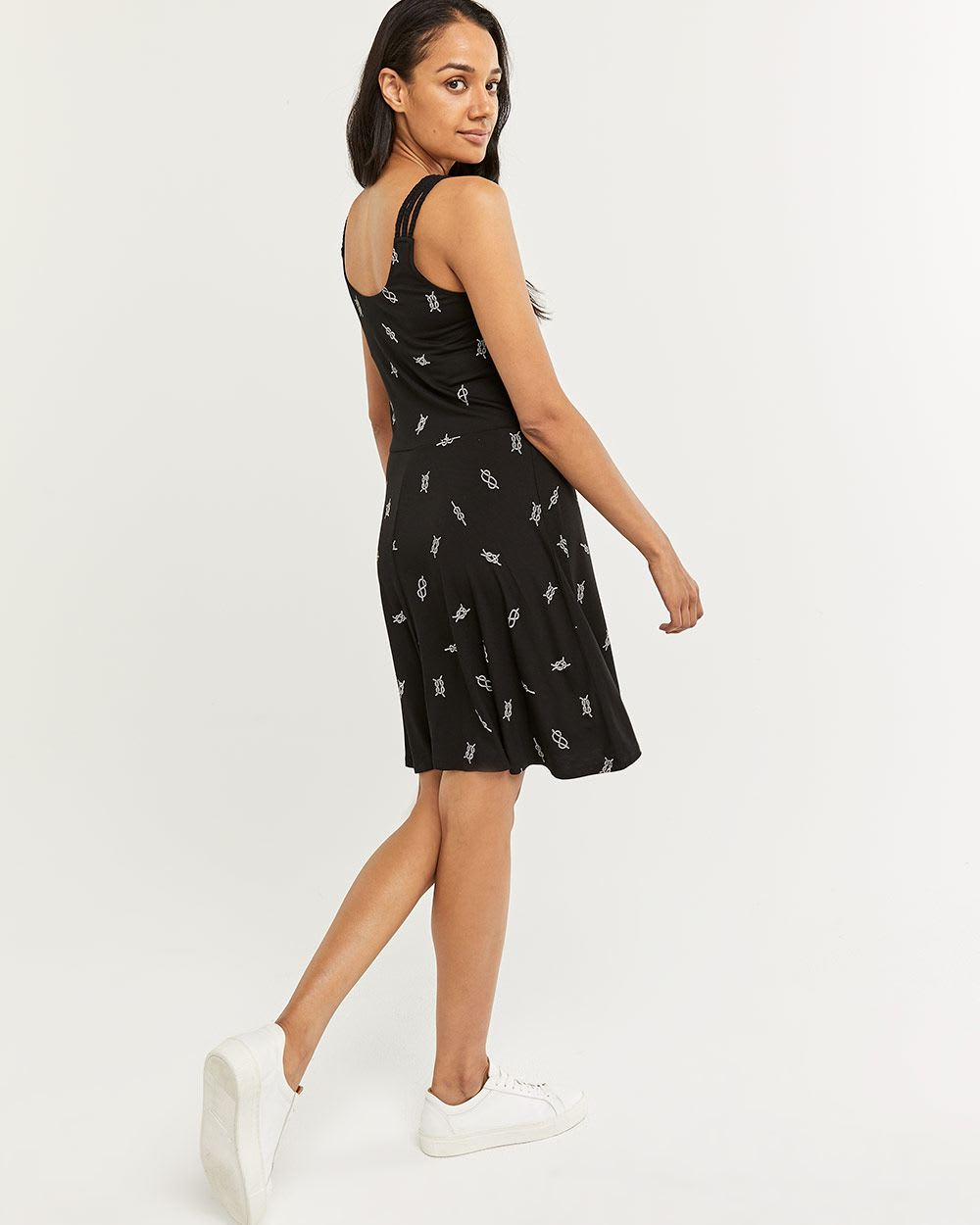 Printed Fit & Flare Dress with Multi Straps
