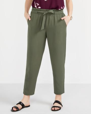 Paper Bag Waist Ankle Pants with Sash