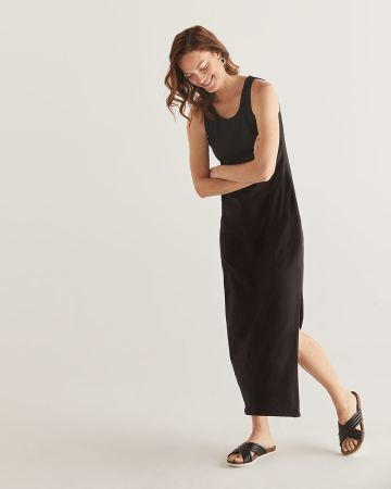 Black Maxi Dress with Shirring