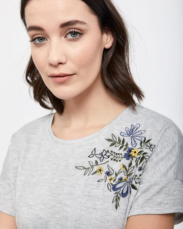 Embroidered Short Sleeve Tee - Petite