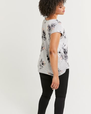 Front Pleat V-Neck Printed Tee