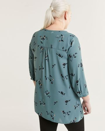 3/4 Sleeve Split Neck Printed Tunic with Pintucks - Petite