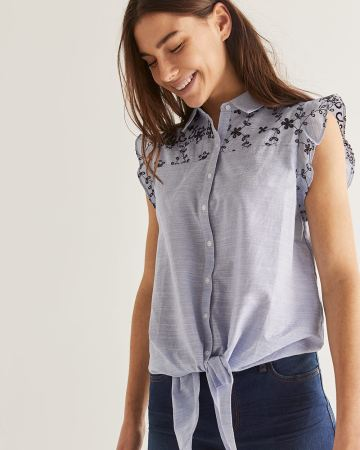 Cotton Tie-Front Embroidered Blouse