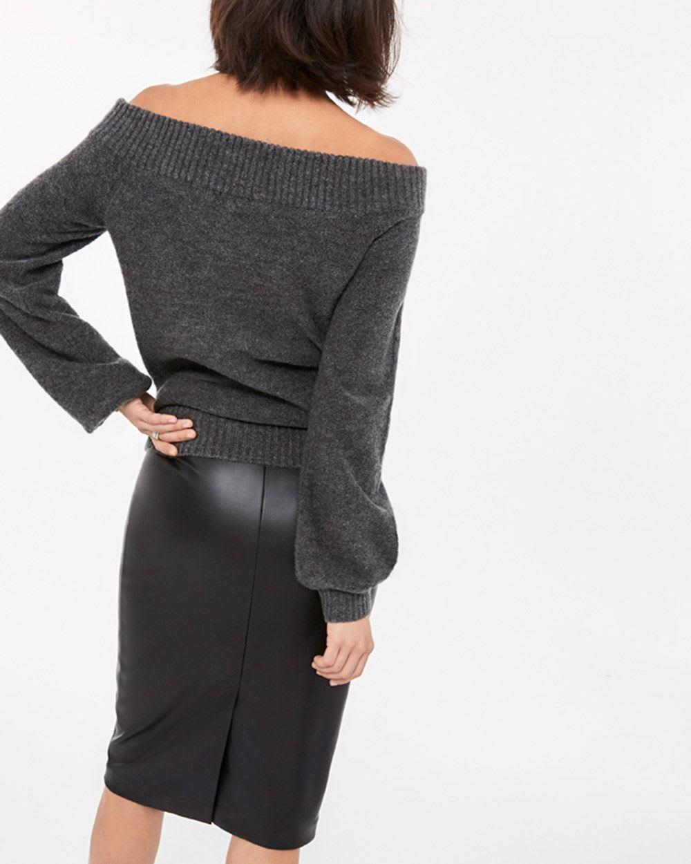 Off-the-shoulder Balloon Sleeve Sweater