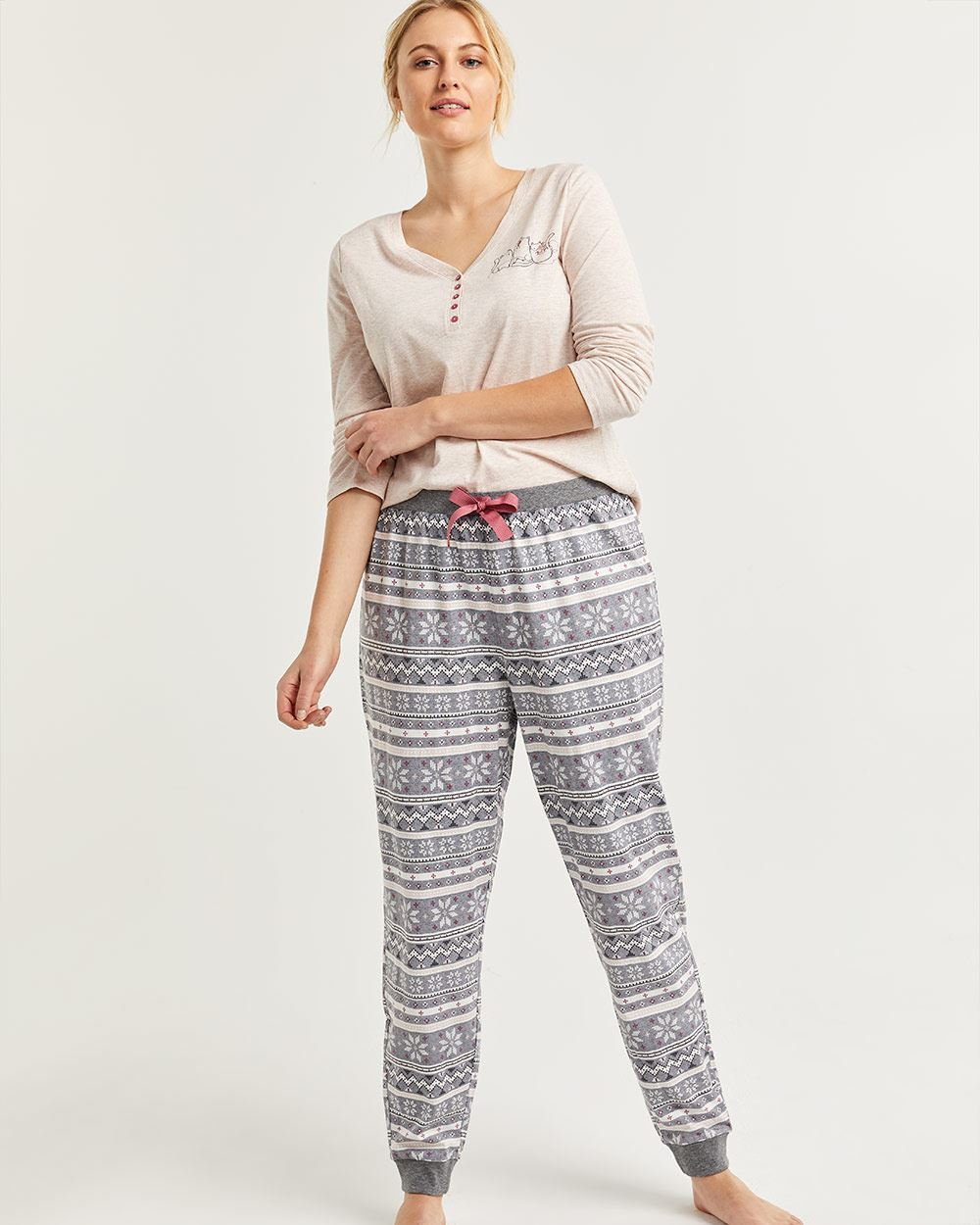 Cotton-Blend Pyjama Set with Joggers Pants