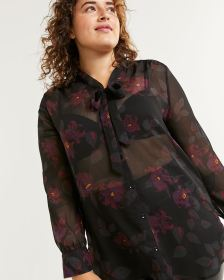 Bow Neck Buttoned-Down Printed Tunic