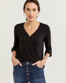 3/4 Sleeve Henley Top