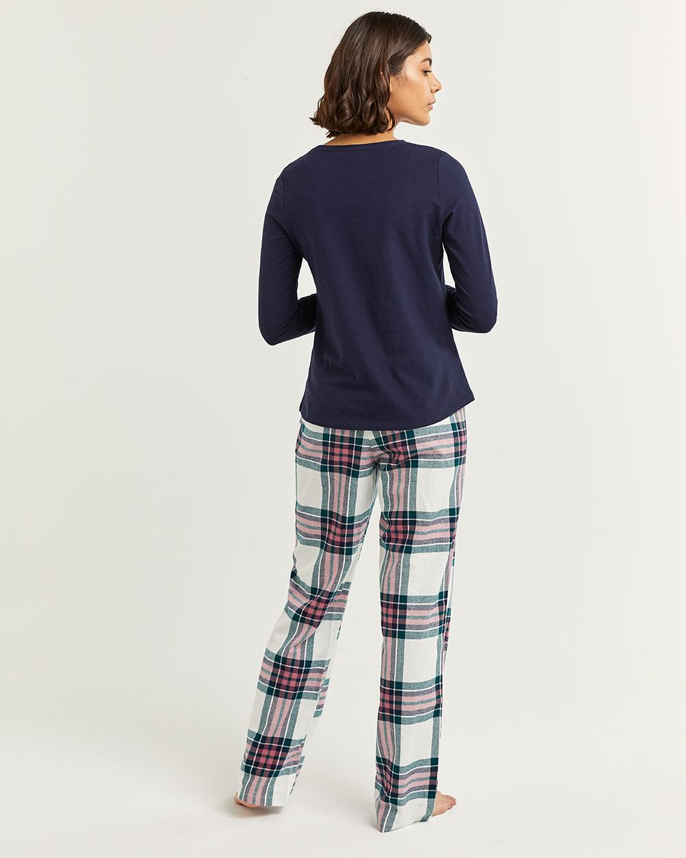 Cotton Pyjama Set with Flannel Pants