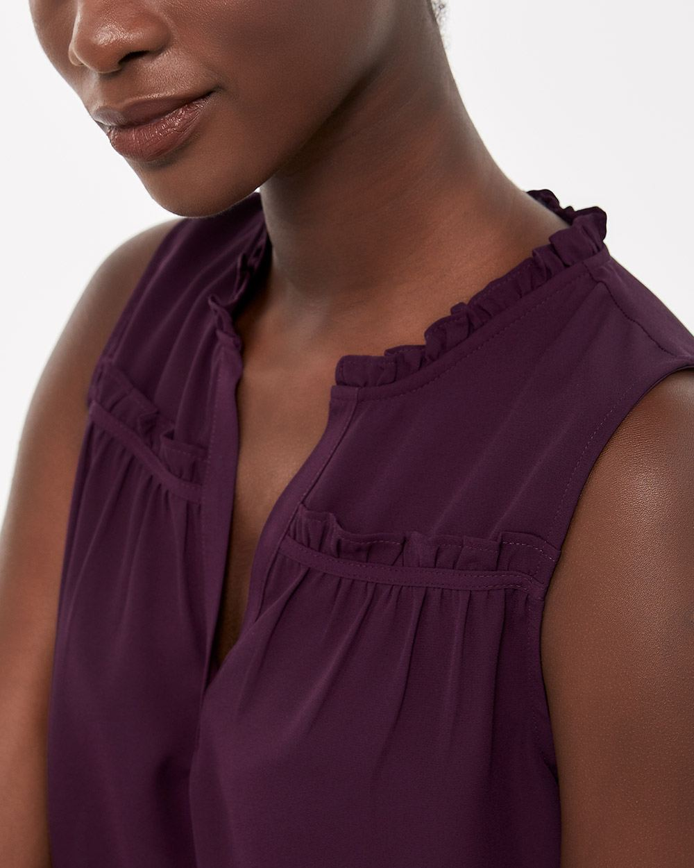 Ruffle Henley Neck Sleeveless Blouse