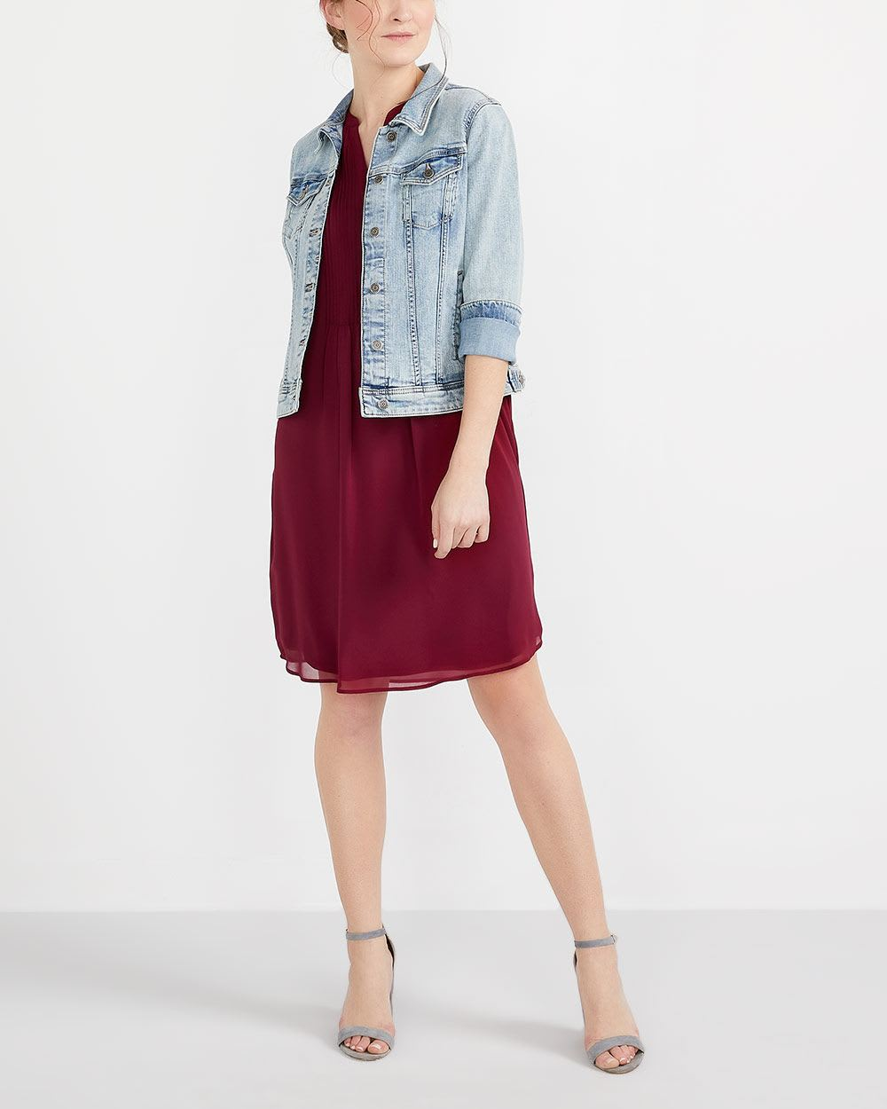 Cap Sleeve Solid Shirt Dress
