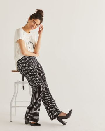 Striped Wide Leg Pull On Pants - Petite