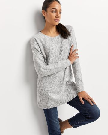 Long Sleeve Tunic Sweater with Diagonal Stitches