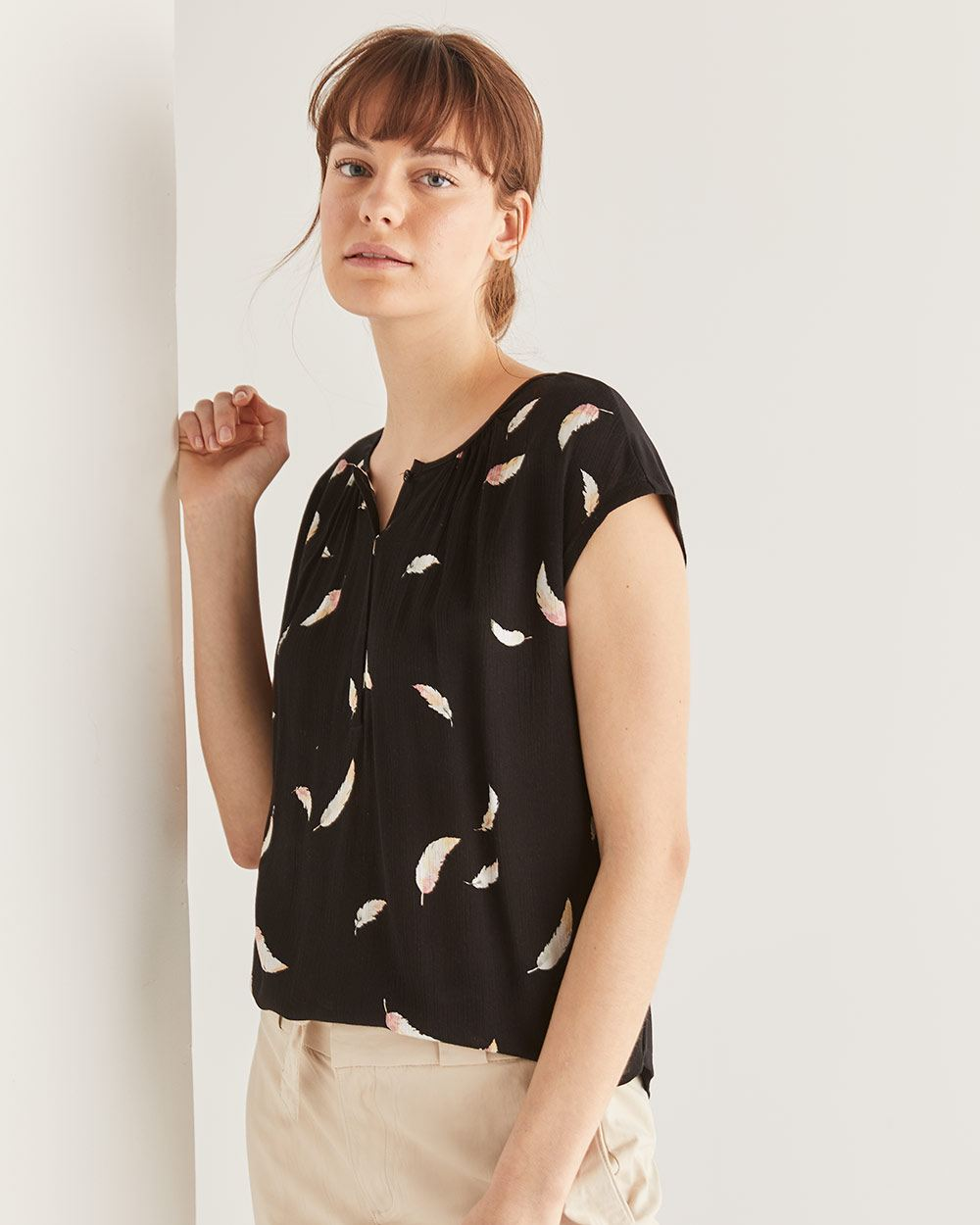 Buttoned Mix Media Printed Tee
