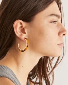 Tortoise & Gold Hoop Earrings