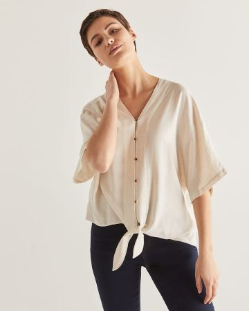 Front Tie Dolman Sleeve Blouse