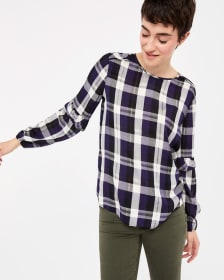 ¾ Puff Sleeve Plaid Top