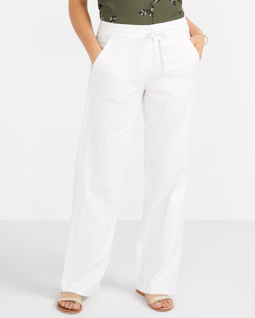 Pantalon ample en mélange de lin Long