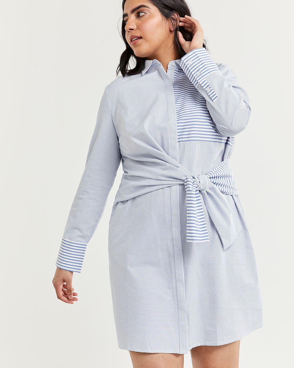Shift Striped Dress with Front Knot