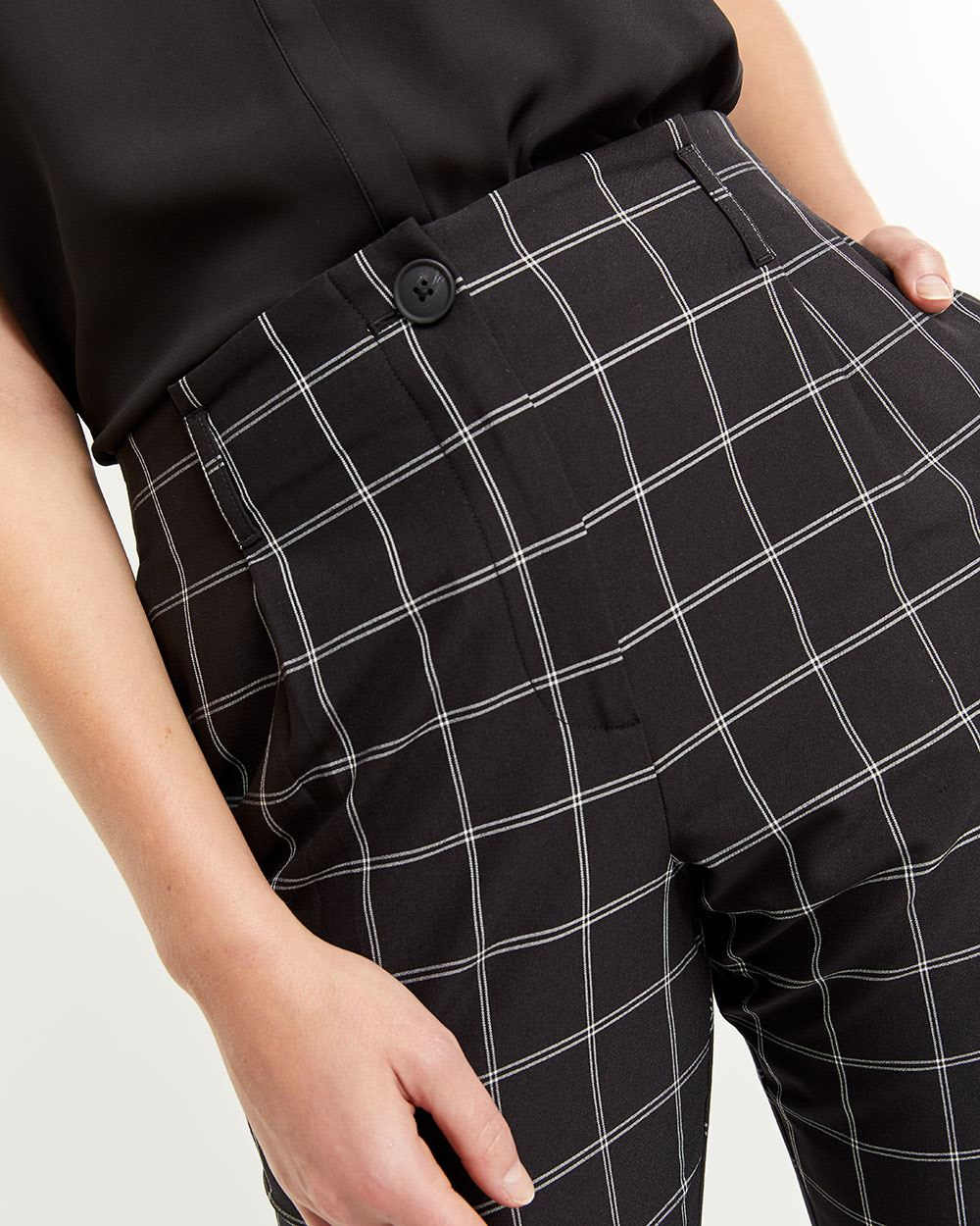 Windowpane Peg Leg Pants
