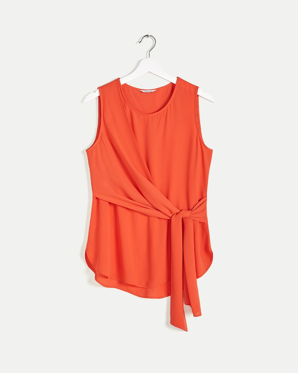 Sleeveless Blouse with Knotted Side