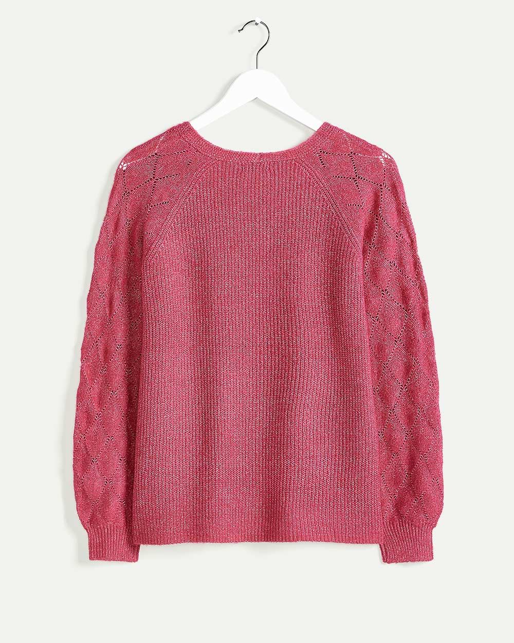 Long Balloon Sleeve V-Neck Sweater