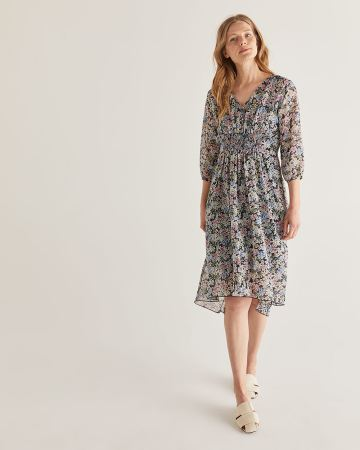 Empire Waist Printed Chiffon Dress