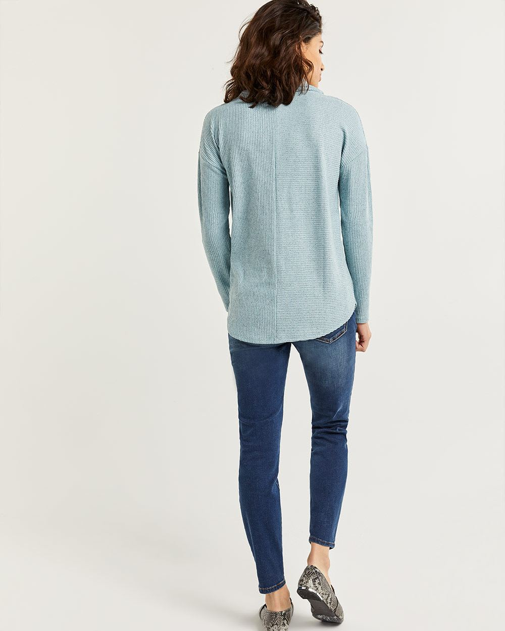 Long Sleeve Ribbed Tee with Cowl Neck