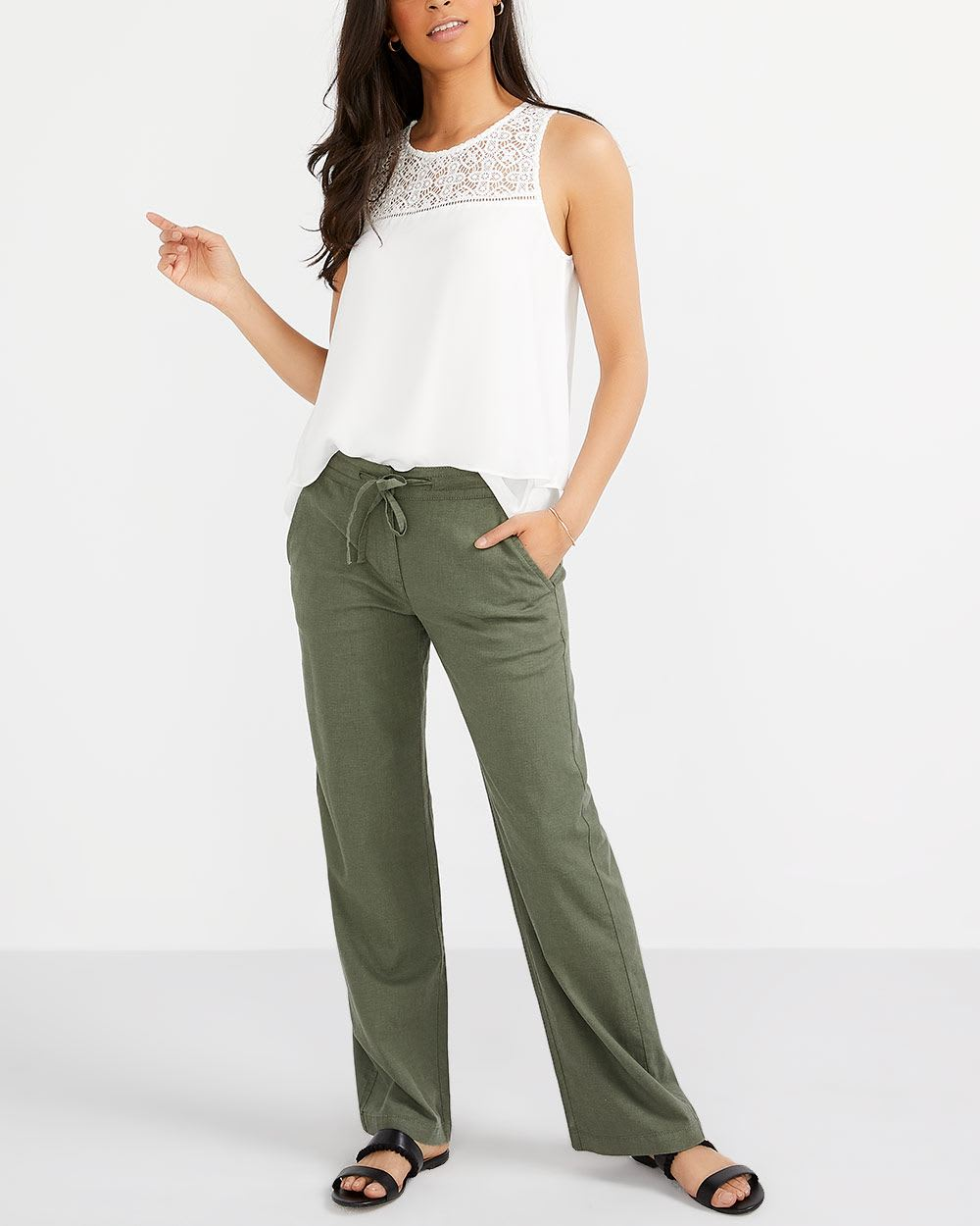 Tall Linen Blend Wide Pants