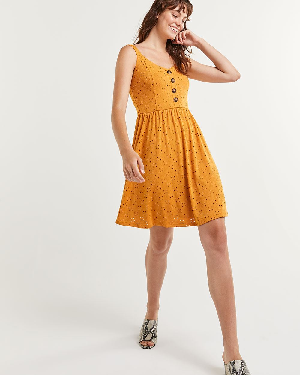 Sleeveless Eyelet Fit & Flare Dress