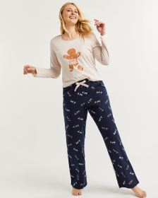 Cotton-Blend Pyjama Set with Flannel Pants