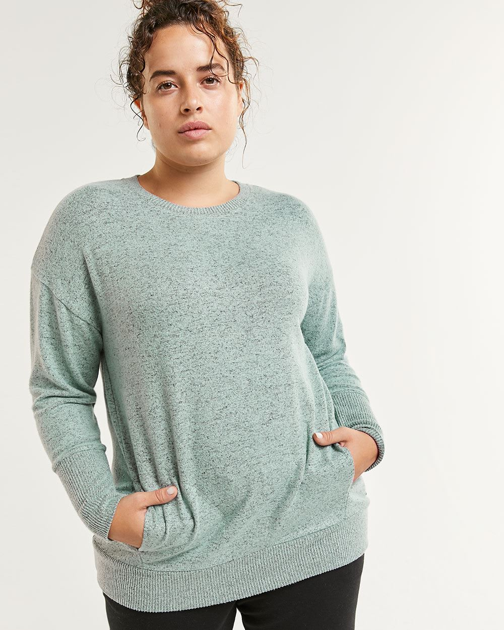 Long Sleeve Crew Neck Brushed Knit Tee Hyba