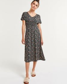 Short Sleeve Floral Print Shift Dress with Elastic Waist