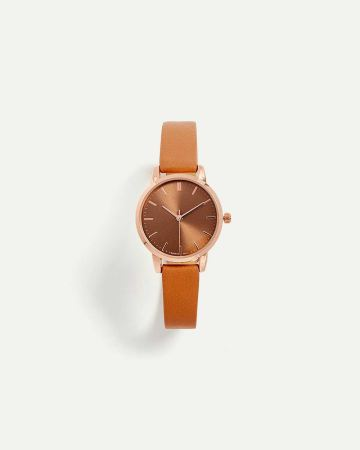 Faux Leather Wristband Watch