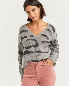 Camo Pattern V-Neck Sweater