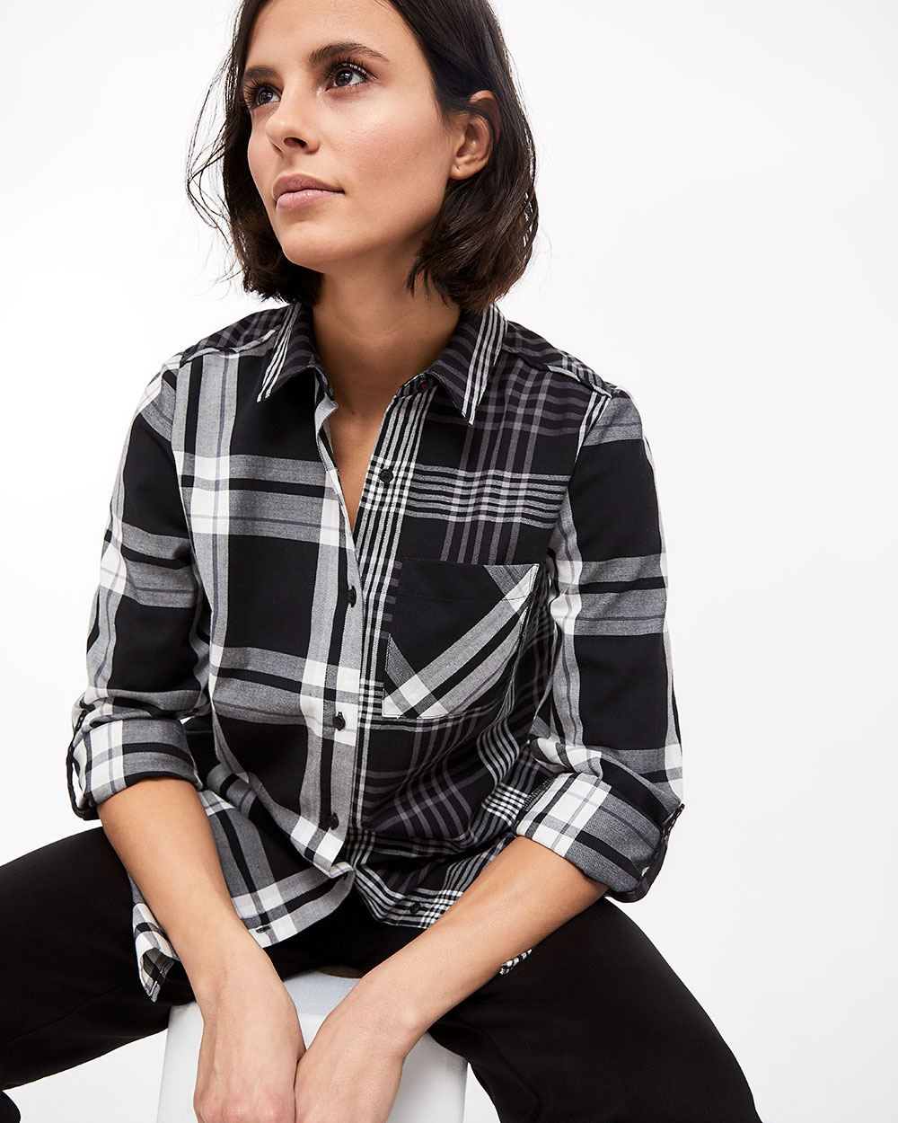 Mixed Plaid Tunic Shirt