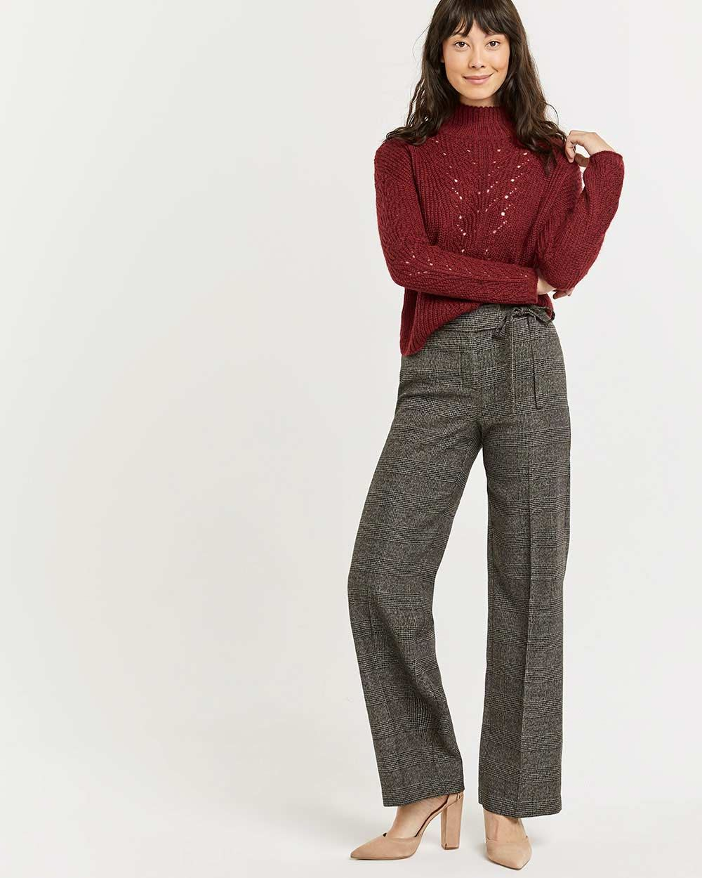 Glen Plaid Wide Leg Pants with Sash
