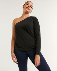 One-Shoulder Top with Pleats