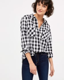 Basic Plaid Top with ¾ Sleeves