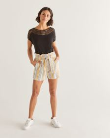 Cotton-Blend Crochet Insertion Top - Petite