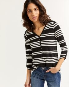 3/4 Sleeve Striped Henley Top