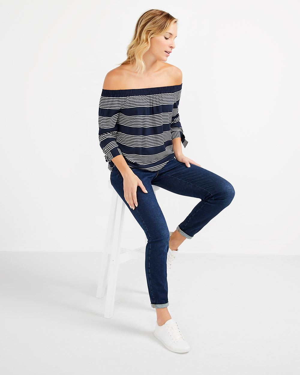 Off-The-Shoulder Striped Blouse