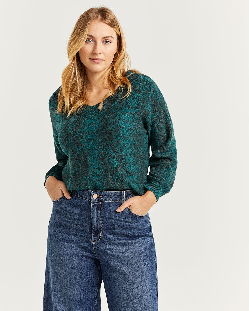 Snake Pattern V-Neck Sweater with Balloon Sleeves