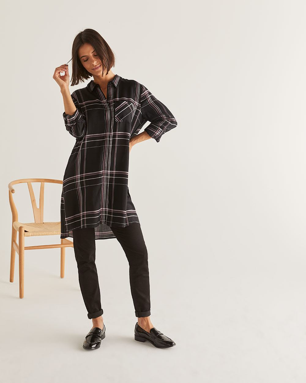 3/4 Sleeve Plaid Tunic
