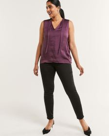 Sleeveless Bow Neck Mix Media Top