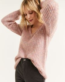 Long Balloon Sleeve Chunky Knit Sweater