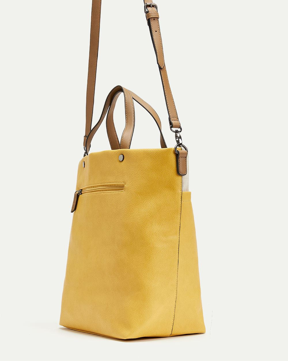 Canvas and Faux Leather Tote Bag