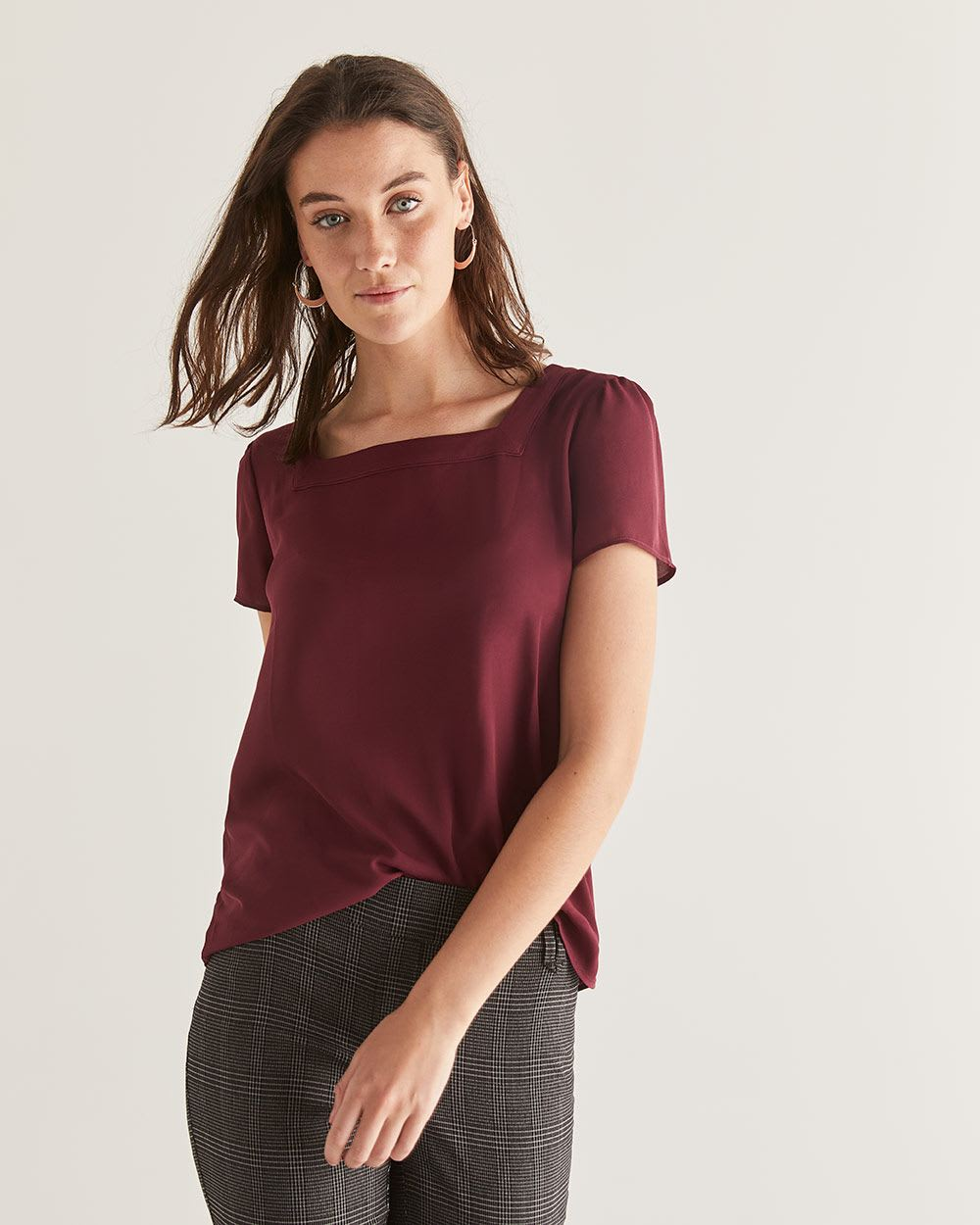 Short Sleeve Blouse with Square Neckline