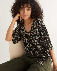 Front Side Tie Printed Blouse - Petite