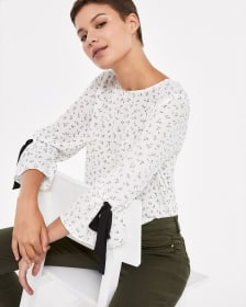 Printed Top with ¾ Sleeves and Ties