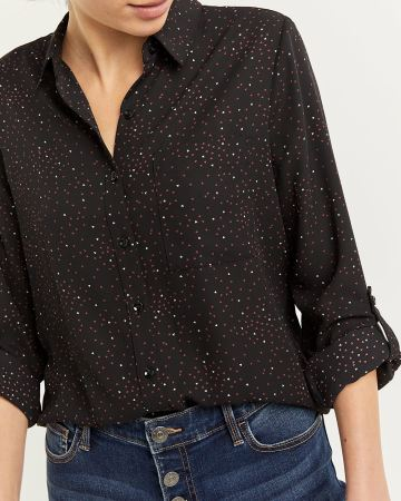 Long Sleeve Printed Shirt with Pocket